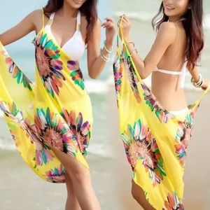Green or yellow floral swim sarongs one size